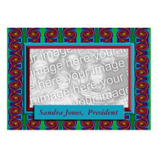 Turquesa e quadro vermelho da foto cartão de visita grande