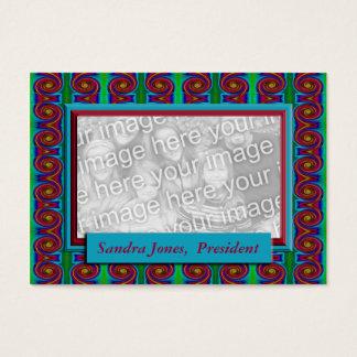 Turquesa e quadro vermelho da foto cartão de visitas