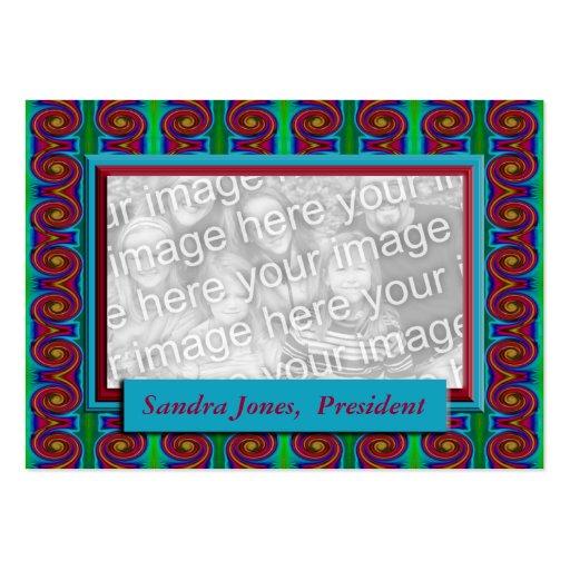 Turquesa e quadro vermelho da foto cartoes de visitas