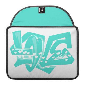Turquesa Grafites do amor do verde azul Bolsas MacBook Pro