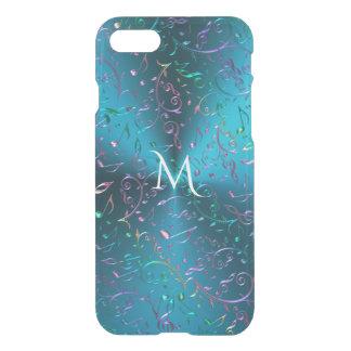 Turquesa metálica com notas Sparkling da música Capa iPhone 7