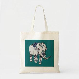 Turquesa profunda saco Embellished do elefante Bolsa Tote