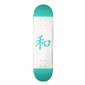 Turquesa sinal de paz chinês azul esverdeado skateboard