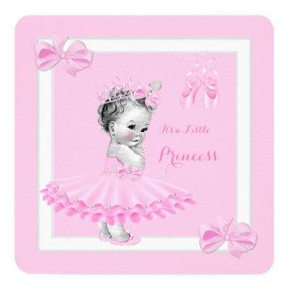 Tutu bonito do rosa da menina da princesa chá de convite quadrado 13.35 x 13.35cm