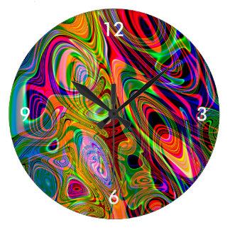 Twirls abstratos fluorescentes psicadélicos relógio grande