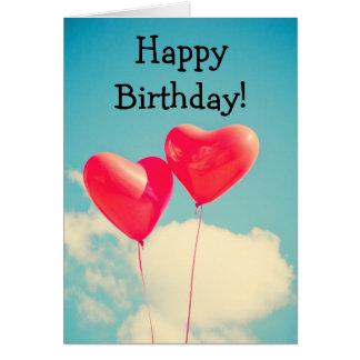 Two balloons: Happy Birthday Card Cartão Comemorativo