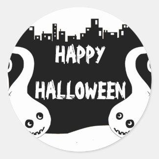 Two smiling ghosts Halloween address label Round Sticker