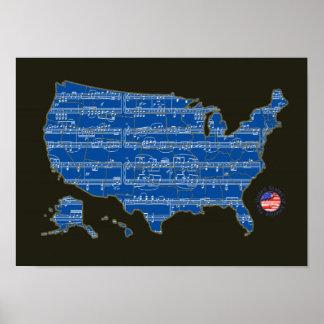 U.S.A. mapa das música-notas azuis Pôster