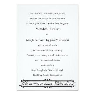 Ubi Caritas e convite católico do casamento de