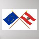 UE e bandeiras cruzadas Áustria Poster
