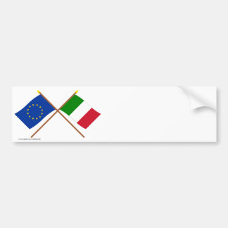 UE e bandeiras cruzadas Italia Adesivo Para Carro