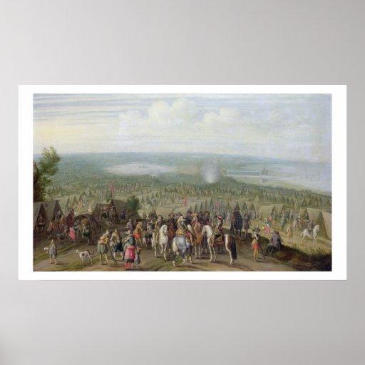 Um acampamento militar com a milícia em cavalos, T Posteres