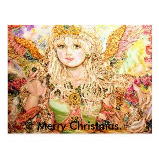 Um anjo esmeralda., Natal alegre Cartão Postal