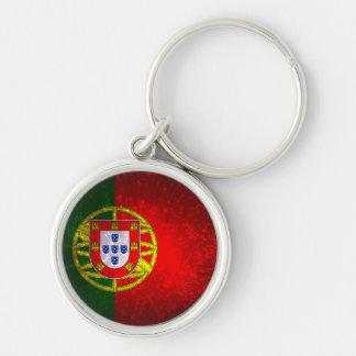 Um bandeira de Portugal Chaveiro Redondo Na Cor Prata