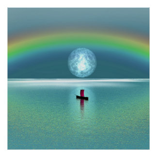 Um barco pequeno no oceano com lua e arco-íris impressão
