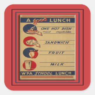 Um bom almoço escolar adesivo quadrado