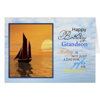 Um cartão de aniversário para o neto. Uma navigaçã