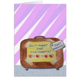 Um cartão de casamento com um olhar luz-hearted