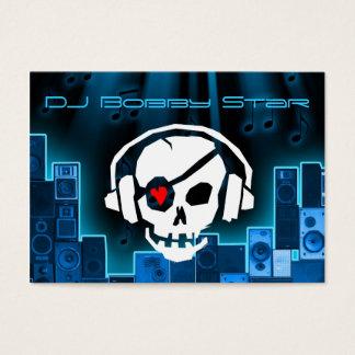 Um cartão de visita azul legal do crânio do laser