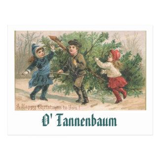 Um cartão do natal vintage - O Tannenbaum Cartão Postal