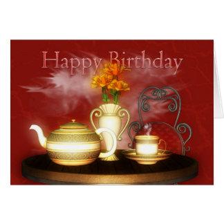 Um chá do aniversário, feliz aniversario cartão comemorativo