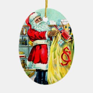 Um cheio do saco do Natal Ornamento De Cerâmica Oval