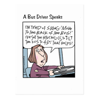 Um condutor de autocarro fala sua mente cartão postal