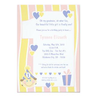 um convite de aniversário 5x7 de 1 ano feminino