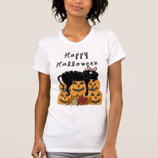 Um gato preto e abóboras do Dia das Bruxas Camiseta