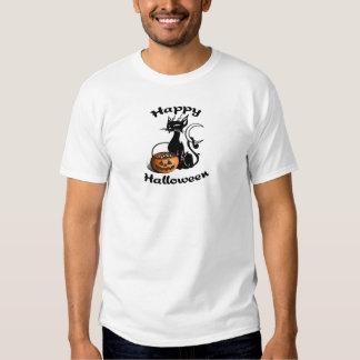 Um gato preto feliz camisetas