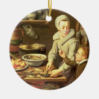 Um interior da cozinha ornamento de cerâmica redondo