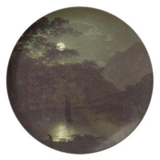 Um lago pelo luar, c.1780-82 (óleo em canvas) pratos