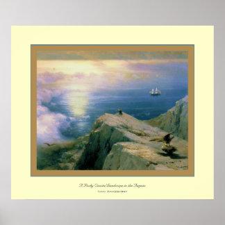 Um Landscape~ litoral rochoso Ivan Aivazovsky Impressão