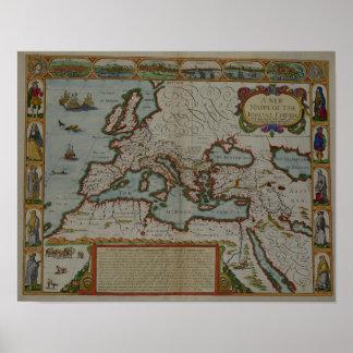 Um mapa novo do império romano pôster