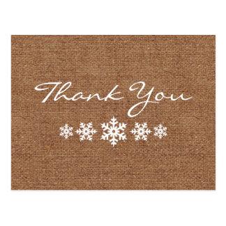 Um obrigado invernal do floco de neve você cartão postal