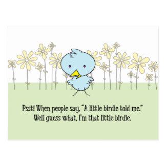Um passarinho pequeno disse-me o cartão