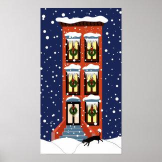 Um poster do Natal do Brownstone