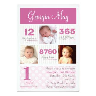 Um primeiro aniversário do primeiro bebé do ano convite 12.7 x 17.78cm