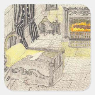 Um quarto em um castelo medieval adesivo quadrado