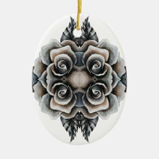 Um rosa para meu amor ornamento de cerâmica oval