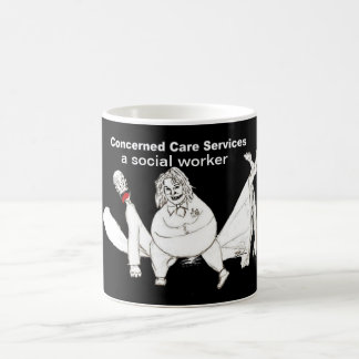 Uma caneca de café do assistente social