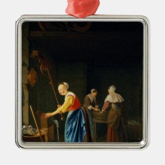 Uma cena da cozinha ornamento quadrado cor prata