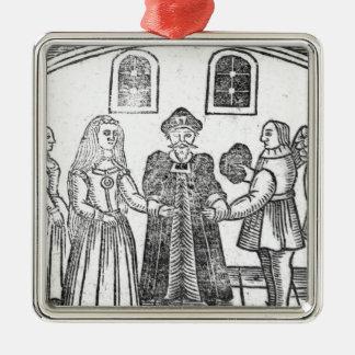 Uma cerimónia de casamento ornamento quadrado cor prata