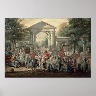 Uma festa em um jardim botânico, 1775 impressão