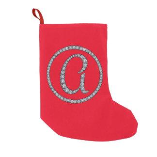 Uma meia bling do Natal do monograma Meia De Natal Pequena