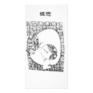 Uma menina chinesa cartão com foto
