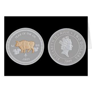 Uma moeda de prata comemorativa cartao