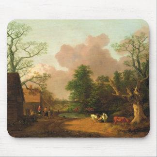 Uma paisagem com figuras, construções de fazenda e mouse pad