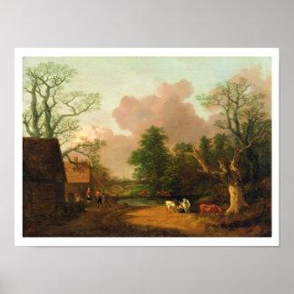 Uma paisagem com figuras, construções de fazenda e posters