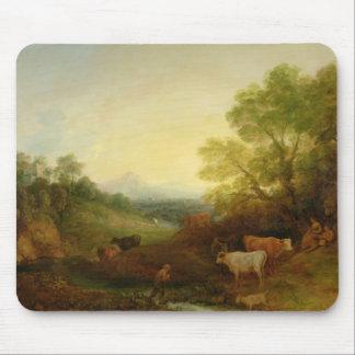 Uma paisagem com gado e figuras por um córrego mouse pad